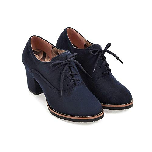 Lace up High Thick Square Chunky Heel Boots Round Toe Shoes by Lowprofile Blue ()