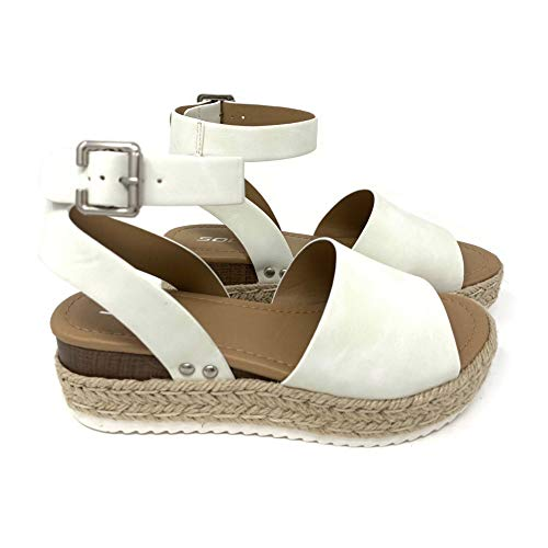 SODA Topic Casual Espadrilles Trim Rubber Sole Flatform Studded Wedge Buckle Ankle Strap Open Toe Sandal (10 M US, Off White) ()