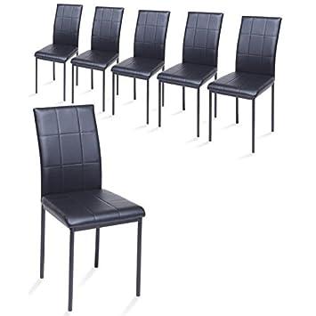 Dona Lot De 6 Chaises De Salle A Manger En Simili Noir Amazon Fr