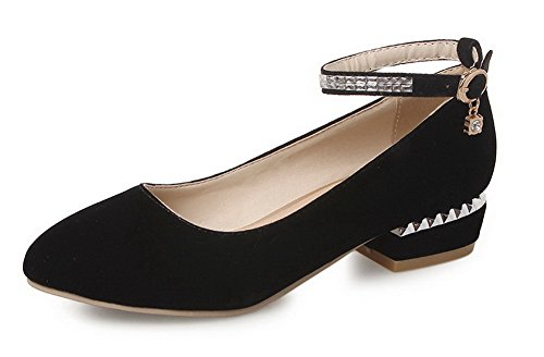 VogueZone009 Women's Round Closed Toe Low-Heels Frosted Solid Buckle Pumps-Shoes Black