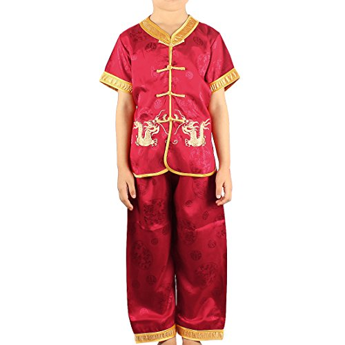 Kids Chinese Costumes (Andux Land Dragon Kungfu Outfit Embroidery Dragon Suit Chinese Tang Clothes GFTZ-01 (red,)