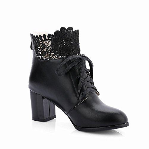 Mee Shoes Damen warm gefüttert chunky heels mit Lace Stiefel Schwarz