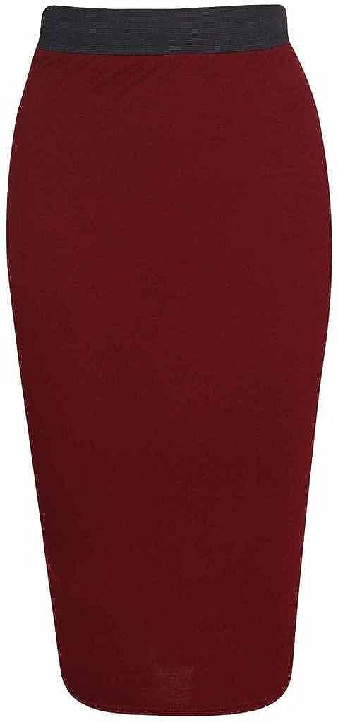 R KON Women's Plain Office Bodycon Midi Pencil Skirts