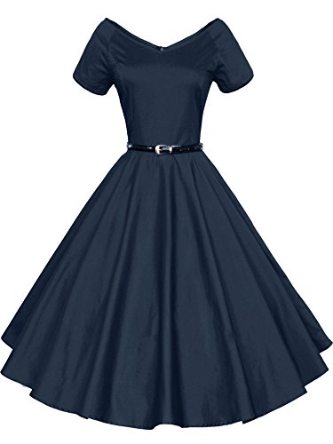 Dress navy with Short Sleeve V Neck Vintage 26 LUOUSE Swing Belt qgC7Y7