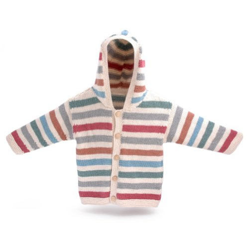 ChunkiChilli Unisex-Baby's Organic Cotton Striped Hoodie - Hand Knitted 12-18 Months Multicoloured by ChunkiChilli