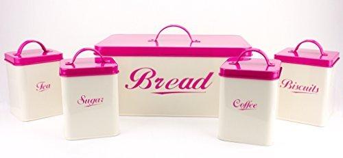 (5 Piece Set Container, Bread Box, Biscuit, Coffee, Tea & Sugar Canisters - Cream Complete Kitchen Organizer)