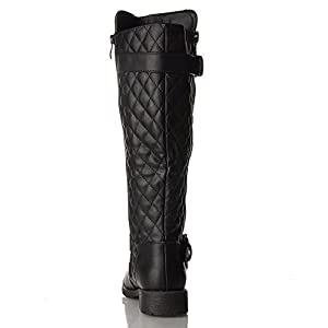 RF ROOM OF FASHION Vivienne-02 Motorcycle Boots (Black PU Size 11)