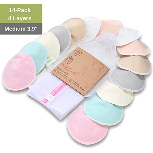 Organic Bamboo Nursing Breast Pads – 14Pack 3.9″ Washable Pads + Wash Bag – Breastfeeding Nipple Pad for Maternity – Reusable Nipplecovers for Breast Feeding (Pastel Touch, Medium 3.9″)