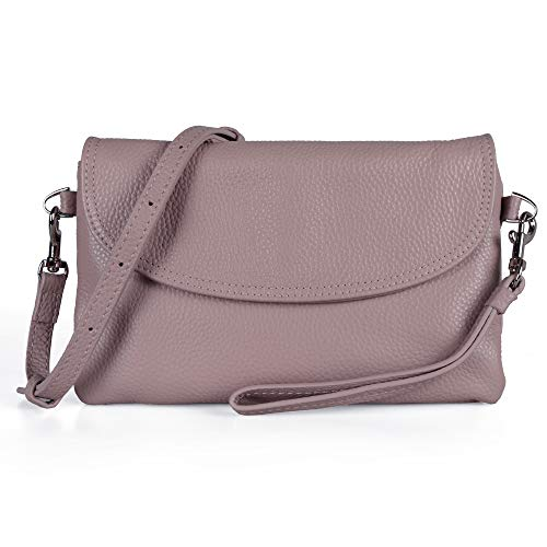 Befen Full Grain Leather Wristlet Clutch Crossbody Phone Wallet, Mini Cross Body Bag with Shoulder Strap/Wrist Strap/Card Slots - Mauve ()