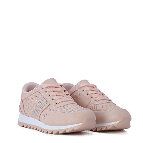 Altamoda Zapatillas Sneakers EN Color Nude Decoradas con tachuelas