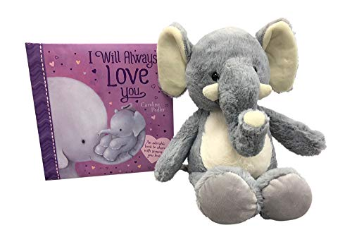 I Will Always Love You Board Book and Fluffy, Plush Elephant-13 inches