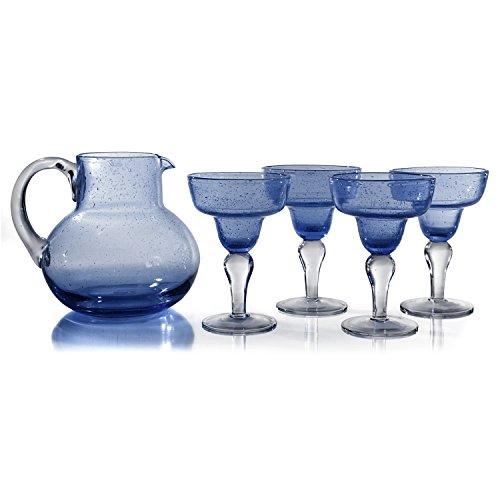 Glass Miniature Pitcher (Artland Iris Seeded Slate Blue 5 Piece Hand Blown Glass 2.8 Quart Pitcher and Margarita Glass Set)