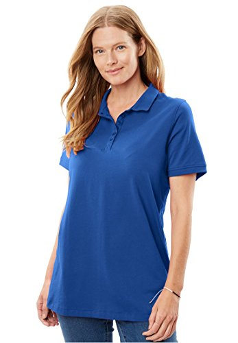 Women's Plus Size Short Sleeve Perfect Polo Tee Royal - Polo Top Womens