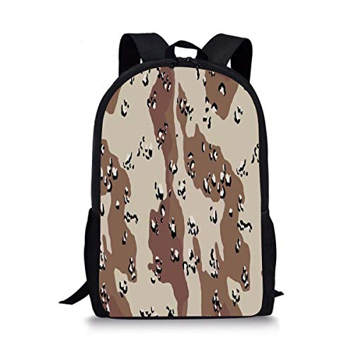 ISFHJbackbagAD Chocolate Chip camouflage Cute Print School Backpack For Boys Girls School Book Bags