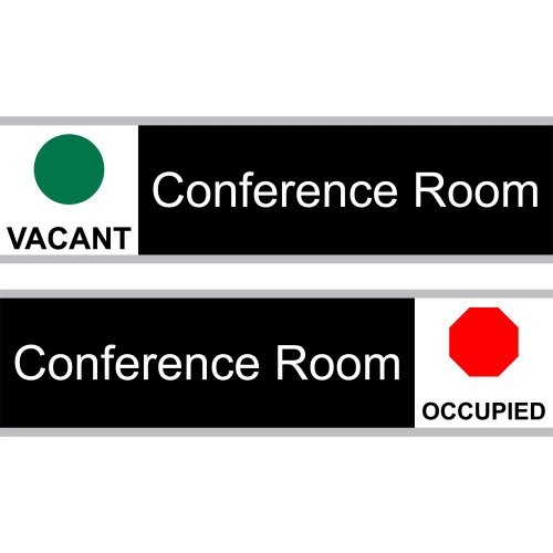 ComplianceSigns Engraved Acrylic Conference Room Sliding Sign, 8 x 3 in. Black with 12-in. Silver - Room Conference Sign