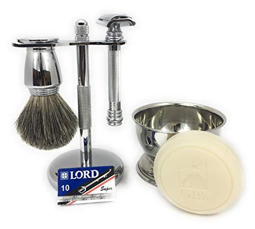 GBS Men's Shave Kit with HD Slant Razor (39001) Double Edge Safety Razor Shaving Bowl Brush & Razor Stand Lathering Soap + DE Razor Blades Stubble ()