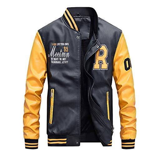 Giubbotto Mengyu Jacket Uomo Pelle Giallo Giacca Felpa Baseball ragazzi College Pu Motociclista signori xg4pw