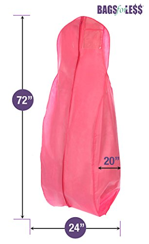 New X-large Breathable Pink Wedding Gown Garment Bag by BAGS FOR LESSTM (Dress Garment Bag Pink compare prices)