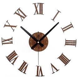 ASIBG Home Fashion style living room 3D Roman numeral wall clock art wall charts creative DIY wall sticker clock wall clock,16 inch,Mahogany color