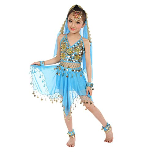 Baby Dance Dresses, Inkach Kids Girls Belly Dance Chiffon Dresses Egypt Dance Outfit Costume Clothing (Light Blue) - Belly Dancing Costumes For Sale