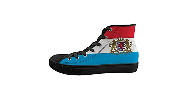 Unisex Casual High-Top Skate Shoes Classic Sneakers Adults Trainers Luxembourg Flag National Emblem