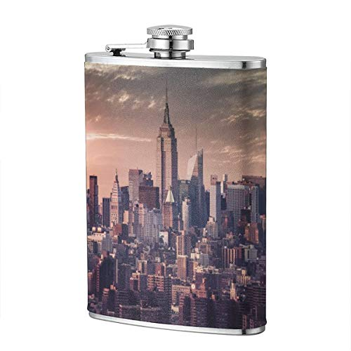 Shot Flask - I Love NY City Food Grade (304) Stainless Steel Flask Leakproof 8 Oz Hip Flask for Storing Whiskey Alcohol -