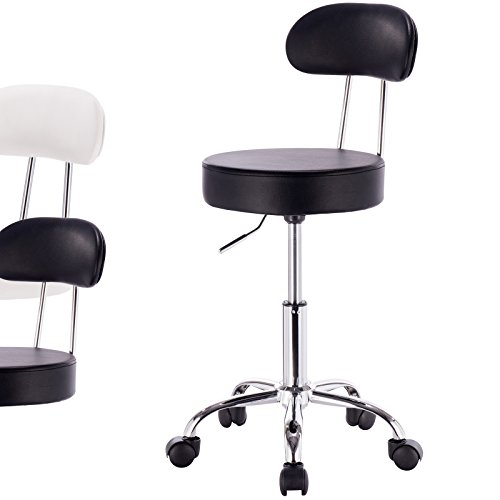 WOLTU ABSX1008blk-a 1x Rolling Swivel Hydraulic Chair with Back Synthenic Leather Round Seat Stools for Home Office Lab Medical Spa Massage Salon Adjustable Seat Height:18.5 inch to 23.2 inch ,Black
