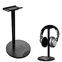 Headphone Stand, Fuleadture Universal Aluminum Headset Stand with Wireless Charger, Headphones Showing Display Holder Hanger - Suitable for All Headphones Size - Black