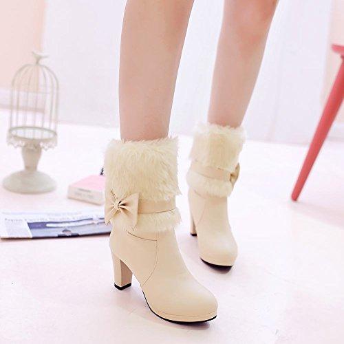 Mee Shoes Damen süß mit Schleife high heels Plateau Stiefel Beige