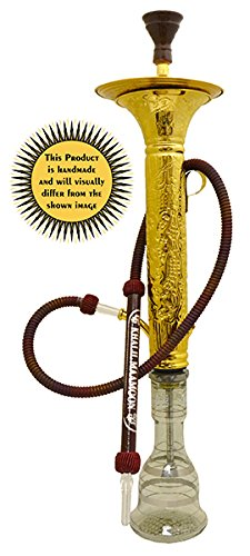 """KHALIL MAMOON Dana Engraved 36"""" Complete Hookah Set with Built in ICE Chamber: Single Hose Shisha Pipe. Handmade Egyptian Narguile Pipes. These are Traditional Middle Grade Chrome Metal Hookahs."""