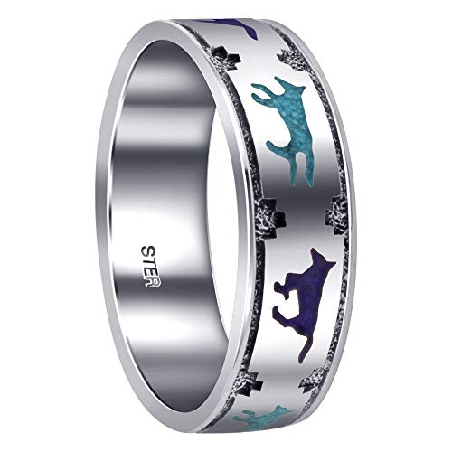 Men's Sterling Silver Running Wolf 7mm Band Size 7 with Turquoise Lapis Lazuli Southwestern Style