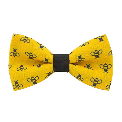 - Honey Bees bow tie pre-tied yellow-black color unisex pattern, by Bow Tie House (Large, Yellow Bees)