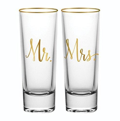 Bride And Groom Shot Glasses - Mr and Mrs Shot Glass Set of 2