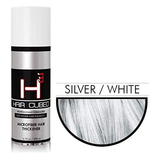 Hair Cubed® - Silver, Hair Building Fiber Spray -(Water Proof) Lasts 2 - 5 Months by Hair Cubed