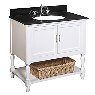 "Kitchen Bath Collection KBC005WTBK Beverly Bathroom Vanity with Marble Countertop, Cabinet with Soft Close Function and Undermount Ceramic Sink, Black/White, 36"" - Natural black granite stone countertop with stunning beveled edges Includes white ceramic sink, pop-up drain & p-trap Comes fully assembled by the manufacturer, with countertop & sink pre-installed - bathroom-vanities, bathroom-fixtures-hardware, bathroom - 41u094gqY9L. SS400  -"