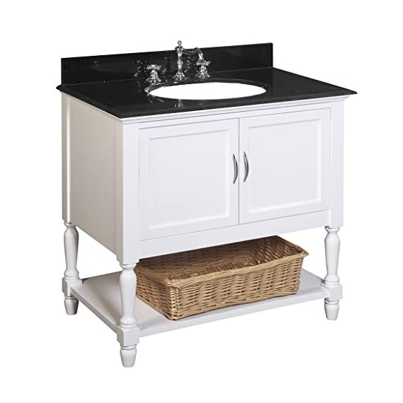 Beverly 36-inch Bathroom Vanity (Black/White): Includes a White Cabinet, a Granite Countertop, and a Ceramic Sink - White cabinet and black granite countertop Undermount ceramic sink, P-trap, pop-up drain, and wicker basket all included. Dimensions: 36 inches wide x 22 inches deep x 35 inches high - bathroom-vanities, bathroom-fixtures-hardware, bathroom - 41u094gqY9L. SS570  -