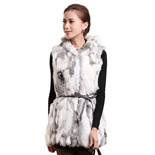 Fur Story Women's Long Real Rabbit Fur Vest with Fur Trim Hood Thick Warm Vest Single Breasted Sleeveless US2 (Nature Gray)