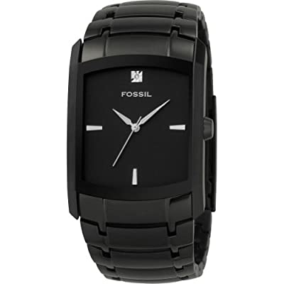 Fossil Fossil Men's Three-Hand Stainless Steel Dlack Dial Dress Watch with Black