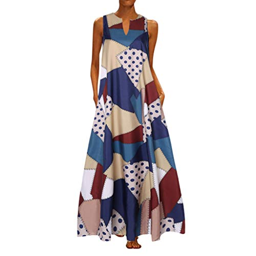 TUSANG Women Skirts Plus Size Print Daily Casual Sleeveless Vintage V Neck Maxi Dress Slim Fit Comfy Dresss