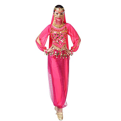 Maylong Womens Long Sleeve Harem Pants Belly Dance Outfit Halloween Costume DW66 (hot Pink) -