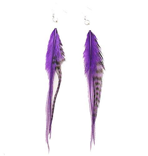 Mia Feather Earrings, Purple, 1 - Purple Pradas
