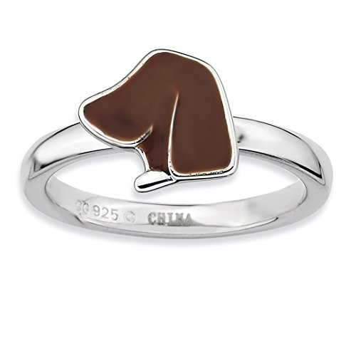 925 Sterling Silver Brown Enameled Dog Head Band Ring Size 5.00 Stackable Fine Jewelry Gifts For Women For Her ()