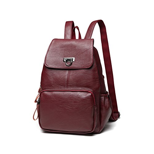 FIGROL Women Backpack Purse Casual Shoulder Bag Ladies Sheep Leather Satchel School Bag Travel Daypacks for - Ladies Leather Red