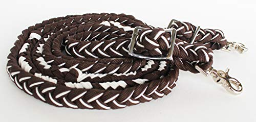 PRORIDER Horse Roping Knotted Tack Western Barrel Reins Nylon Braided Brown White 607229