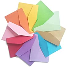 DE 100 Pack Mini Envelopes-Perfect sized envelopes for personalize gift cards, wedding envelopes or Birthday Party place cards-4.5 x 3.2 Inches , Assorted Colors