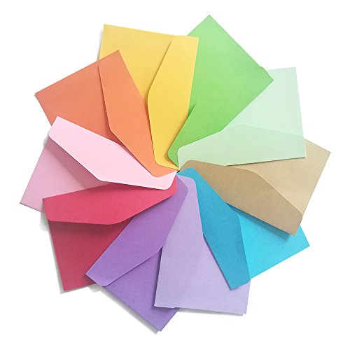 DE 100 Pack Mini Envelopes-Perfect Sized envelopes for Personalize Gift Cards, Wedding envelopes or Birthday Party Place Cards-4.5 x 3.2 Inches, Assorted Colors