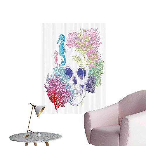 Wall Painting Halloween Skull Skelet Head with Coral Reef Dead Aquarium Pirate Wildlife High-Definition Design,28