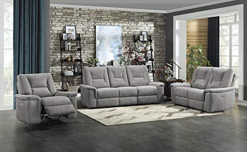 Homelegance Lavoie 3-Piece Power Reclining Sofa Set, Metal Gray