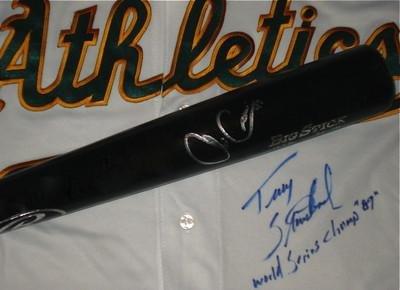 1989 Oakland Athletics Autographed Bat & Jersey (world Series Champs) Lot! - Autographed MLB Bats