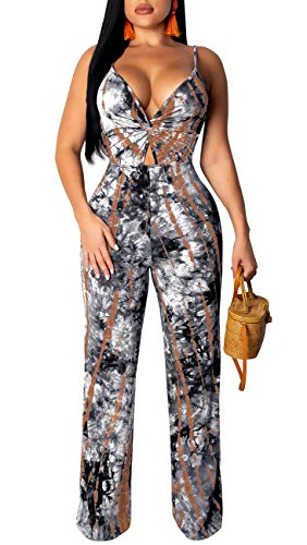 LightlyKiss Womens Sexy Spaghetti Strap Floral Print Jumpsuits Sleeveless Long Pants One Piece Playsuits